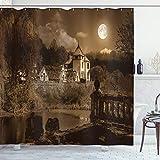 ABAKUHAUS gótico Cortina de Baño, Casa Medieval, Material Resistente al Agua Durable Estampa Digital, 175 x 200 cm, marrón