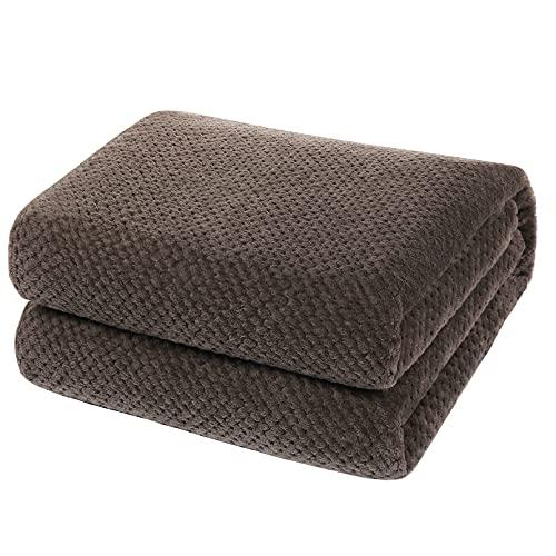 YOOFOSS Manta de Microfibra 150x200 cm Mantas para Sofás Manta de Cama Colcha o Manta de Estar Viajes Cómodo Cálida para Todas Las Estaciones marrón