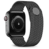 jwacct Compatible for Apple Watch Band 42mm 44mm, Adjustable Stainless Steel Mesh Wristband Sport Loop for iWatch Series 5 4 3 2 1,Black