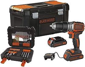 Black+Decker BL188D2KA31-QW Taladro de percusión inalámbrico (18 V-2 Ah-52 Nm-1650 trs/min-28 050 CPS/Min-2 baterías-31 accesorios- Se entrega en caja de herramientas