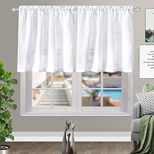 Kitchen Curtains 24 inch Length Sets Linen Textured White Semi Sheer Curtains for Window Treatment, Pole Top, 2 Panels