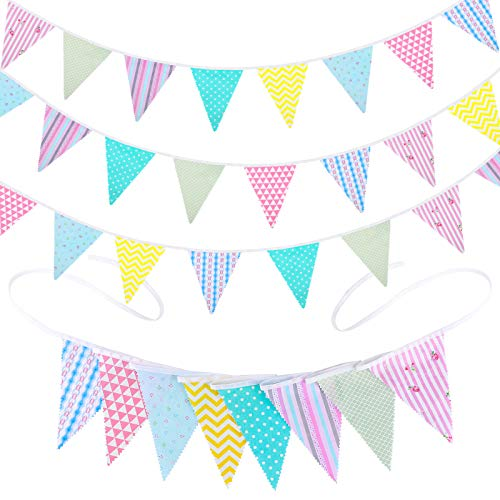 ADXCO 48 Pieces 45.9 feet Fabric Bunting Banner Spotted Fabric Flag Banner Garlands Colorful Cotton Hanging Pennant Flags for Birthday Parties Garden Wedding