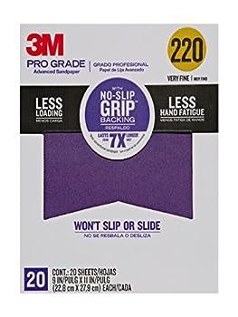 3M Pro Grade No-Slip Grip Advanced Sandpaper 9 X 11-Inches 220 Grit 20/Pack