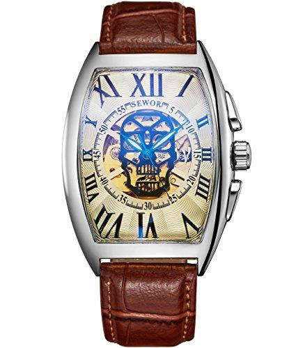 SEWOR Reloj de Pulsera mecánico automático, con Dibujo de Calavera, para Hombre, Correa de Piel, Revestimiento de Cristal Color Azul. (Plata Platino)
