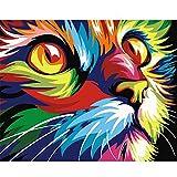 Pintar Numeros DIY Gato De Ojos Grandes De Color Abstracto For Mayores Avanzada Niños Joven Acrilico Pintura Kit Pinturas con Numeros para Adultos 40X50Cm