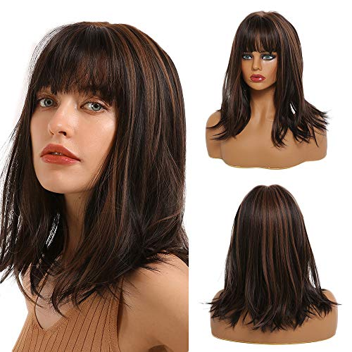 ALIWEI Brown Straight Highlights Wig Synthetic for Women Mix Brown Bob Wig With Bangs Short Highlights Wig Ombre Natural Looking Middle Part Cosplay Daily Hair