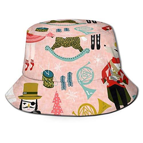 GOSMAO Sombrero de Cubo, Plegable, Reversible, Soldado, estatuilla, Estampado de Cascanueces, Sombrero para el Sol, Gorras de Pescador para Hombres y Mujeres, Color Negro