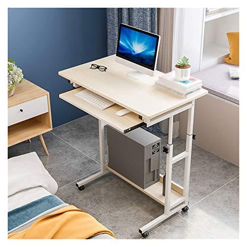 ABD Mesa de sobrecama con ruedas ajustable de escritorio/sobrecama, escritorio con forma de C, escritorio para ordenador portátil, aula (color de arce blanco)