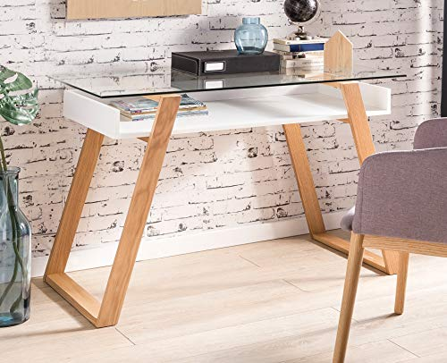 SalesFever Designer Schreibtisch Weiß mit Eichegestell und Glasplatte Venla