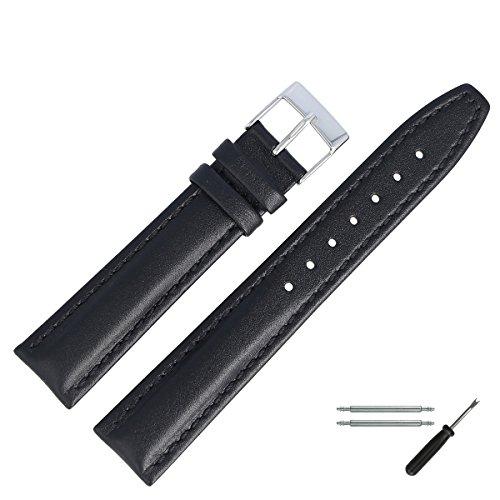 MARBURGER Uhrenarmband 18mm Leder Schwarz - Werkzeug Montage Set 2891810000120