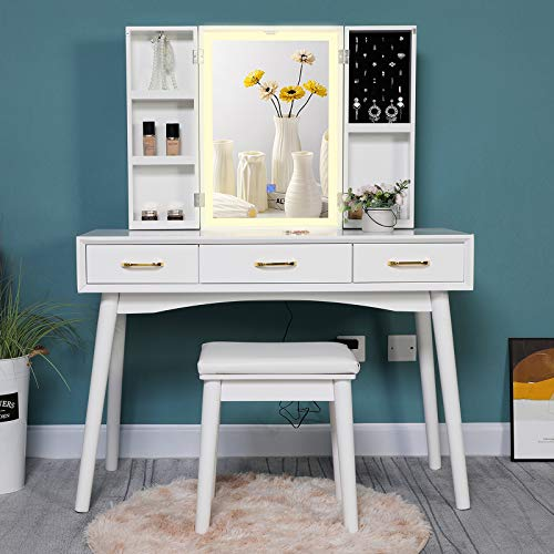 """Iwell Large Vanity Table Set with 3 Colors Lighted Mirror, 39.4"""" L Makeup Vanity Table with 5 Storage Shelves, Dressing Table with 3 Drawers & Cushioned Stool, Gift for Women, Girl White"""