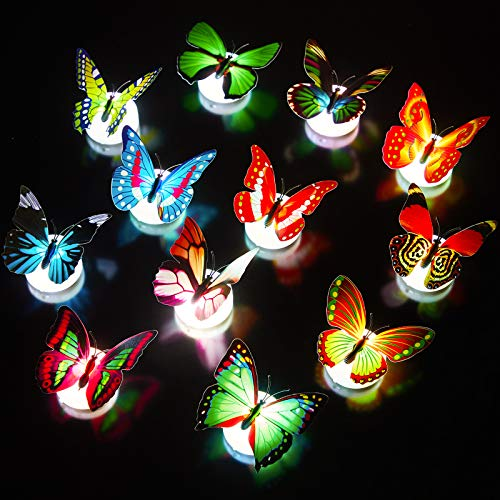 12 Pieces LED Butterfly Decoration Lights Colorful Night Light 3D Butterfly Wall Stickers LED Light for Garden Backyard Lawn Wedding Party Nursery Bedroom Living Room Set with Randomly Different Style