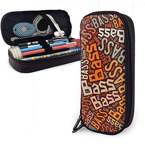 Bajo - Estuche de lápices de cuero de alta capacidad de apellido americano Lápiz Lápiz Papelería Titular Caja Organizador Bolígrafo de maquillaje escolar Bolso cosmético portátil