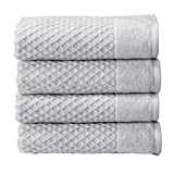 100% Cotton Quick-Dry Bath Towel Set (30 x 52 inches) Highly Absorbent, Textured Luxury Bath Towels. Grayson Collection (Set of 4, Light Grey)
