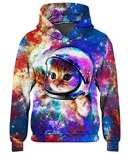 Goodstoworld 3D Galaxie Katze Hoodie Kinder Mädchen Jungen Pullover Coole Grün Galaxy Druck Kapuzenpullover Sweatshirt Kleider