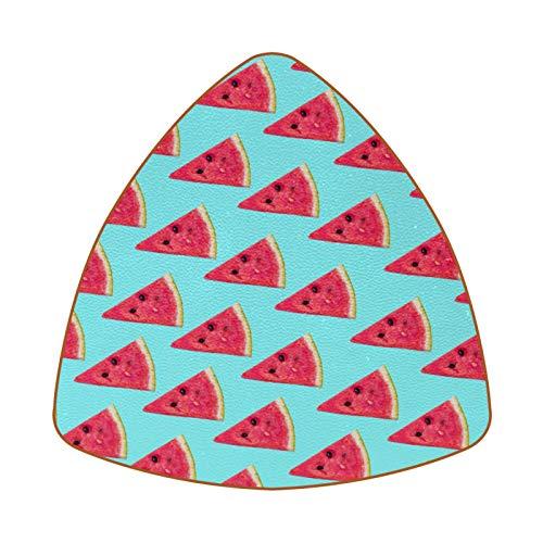 Juego de 6 posavasos triangulares para bebidas, cuero antideslizante, sandía triangular, rodajas de fondo turquesa, almohadilla para el hogar o el bar, regalo de inauguración de la casa