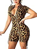 Ekaliy Sexy Short Jumpsuit for Women Leopard Clubwear Deep V Neck One Piece Outfits Short Sleeve Hollow Out Bodycon Rompers Catsuit M