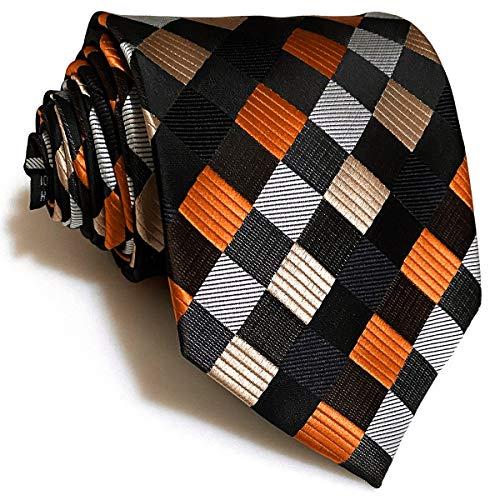 S&W SHLAX&WING Gravatas extra longas para homem gravata quadriculada masculina multicolorida de seda 160cm