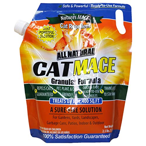 Nature's Mace Cat Mace 2.5lb Granular/Covers 1,400 Sq. Ft. / Cat Repellent and Deterrent/Keep Cats Out of Your Lawn and Garden/Safe to use Around Children & Plants