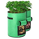 Tvird Potato Grow Bags 2 Pack 10 Gallon Planting Pouch Fabric Pots Premium Breathable Cloth Bags for Potato/Plant Container with Handles and Velcro Window(Green)