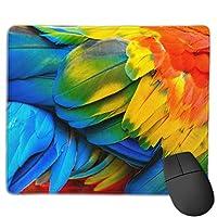 ステッチエッジでカスタマイズされた緋色のコンゴウインコの鳥の羽のマウスパッドのクローズアップ、ゲーム作業用の滑り止めラバーベース11.8 X9.8インチ/ 25 X 30cm