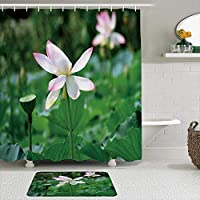 WOTAKA シャワーカーテン バスマット 2点セット 美しい蓮の自然の花の葉植物シンプルな緑の現実的な自然の風景 自家 寮用 ホテル 間仕切り 浴室 バスルーム 風呂カーテン 足ふきマット 遮光 防水 おしゃれ 12個リング付き