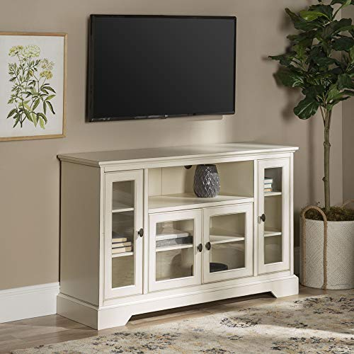 Walker Edison Furniture Traditional Wood Stand for TV's up to 56' Living Room Storage, 52', White