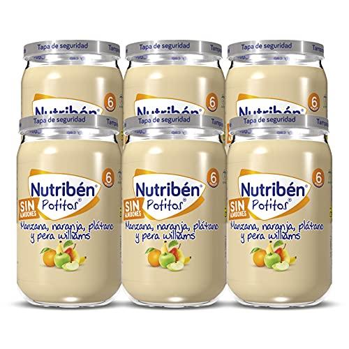 Nutribén Potitos De Manzana, Naranja, Platano Y Pera Williams, Desde Los Meses, Pack 6 x 235gr