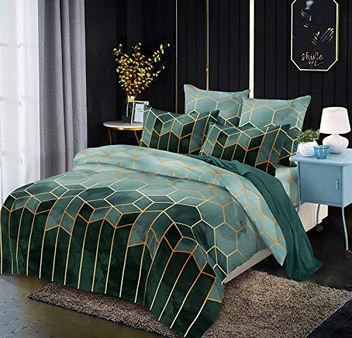 Luofanfei Bettwäsche 155x 220 Gestreift 3 teilig Dunkelgrün Bettbezug Set Zweiteilig Mit Reißverschluss Streifen Geometrisch Muster Microfaser Modern Bettdeckenbezug Jugendliche Jungen