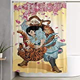 KGSPK Cortinas de Ducha,Wuson vence a un Tigre,Cortina de baño Decorativa para baño,bañera 180 x 180 cm