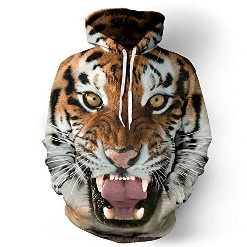 Générique Sweat à Capuche Unisexe 3D imprimé Pull à Capuche avec de Grandes Poches Grande Bouche Tigre, Cadeaux pour garçons et Filles Petit