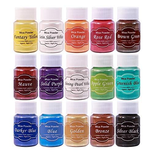 Lote de 12 Joyas de Resina para Velas de jab/ón de colorante de Polvos de colorante de Perlas MYA