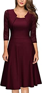 Womens Summer Vintage Lace O Neck Three Quarter Sleeve Wedding Cocktail Party Dress