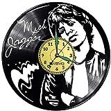 Mick Jagger - Reloj de pared de vinilo con disco de vinilo, estilo retro, gran espacio, decoración para el hogar, regalo ideal para amigos, hombre, vinilo, decoración para el hogar, pared inspiradora