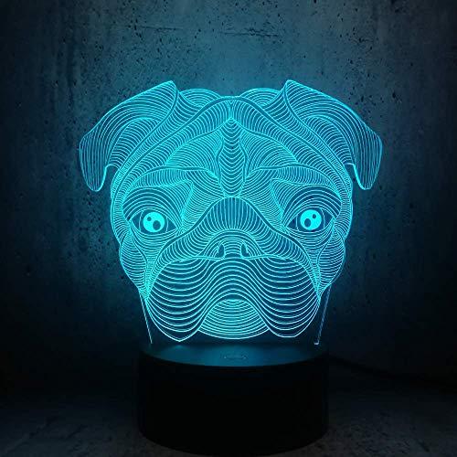 3d Cute Dog Doggy Shar Pei Forma di cane Lampada a led Luce notturna per bambini Camera da letto...
