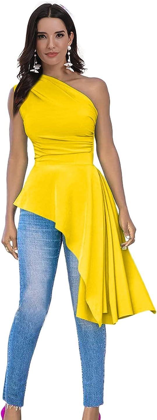 Ekaliy Women Sexy One Shoulder Sleeveless Bodycon High Low Asymmetrical Ruffle Tunics Blouse Shirt Top Dress