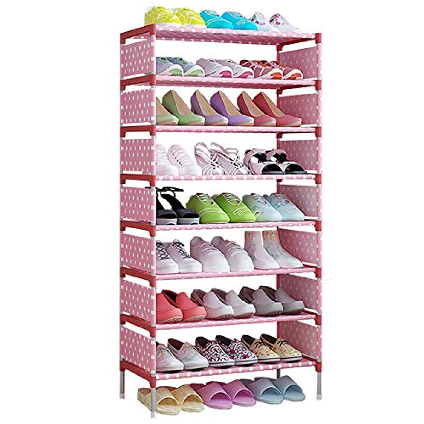 FKUO 9 Tier Shoe Rack Shelf Storage Organizer Shoes Shelf Easy Assembled Stand Holder Keep Room Neat Door Space Saving (A-Pink dots, 9-Tier) uptddl7428689