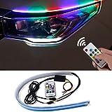 CoCsmart Flexible Car LED Strip Light, 2 Pcs 24 Inches RGB Multi Color Daytime Running Lights, Waterproof Car Headlight Surface Strip Tube Light Neon Turn Signal Lights DRL Switchback Light
