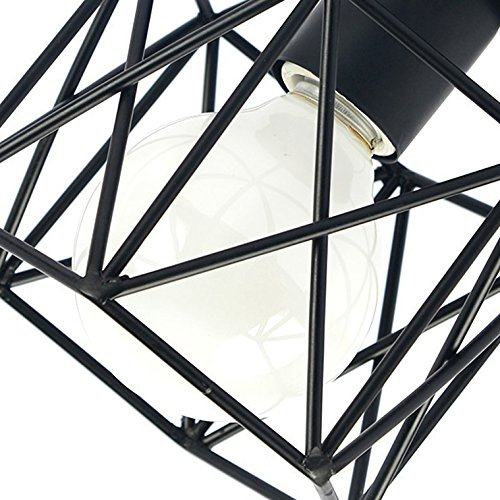 "Vintage Ceiling Light, MKLOT Ecopower Industrial Style Square Semi Flush Mount Ceiling Lighting Lamp Fixture 5.91"" Wide with Cage in Black"