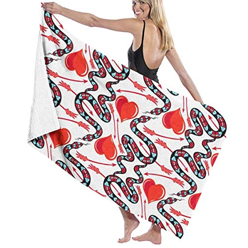 erjing Snake Red Love Hearts Arrow Bath Towel Soft Absorbent Quick Dry Towels For Sports Travel Pool Bath,130cm×80cm