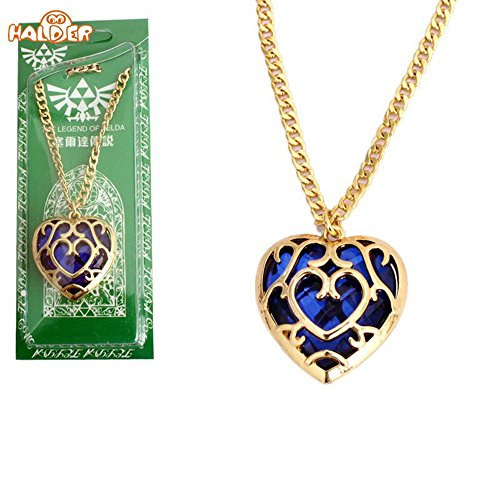 The Legend of Zelda Skyward Sword Heart Container Keychain Cosplay Pendant Jewelry Necklace (Blue Necklace)