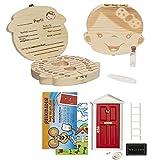 LA PUERTA MÁGICA del Ratoncito Pérez + Caja dientes de leche + pinzas + botella esterilizadora + escalera + plato + queso + felpudo + llave + dibujo fondo de puerta + postal (Rojo Niña)