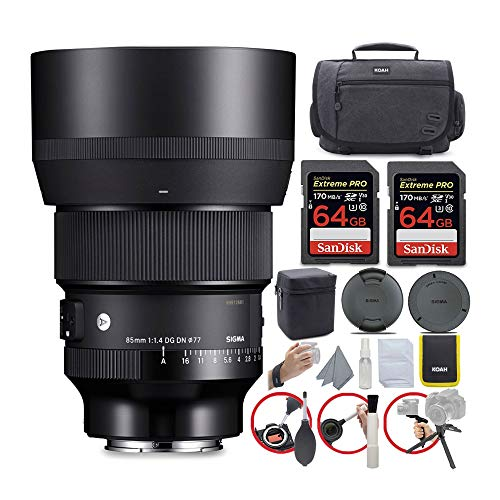 Sigma 85mm f/1.4 DG DN Art Lens for Sony E Bundle with 64GB Extreme PRO SD Card and Koah Messenger Camera Bag Advanced Travel Kit (4 Items)