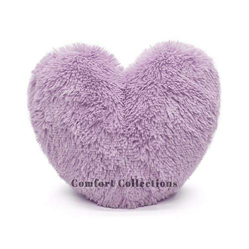 Cuddly Teddy Bear Fleece Super Soft 3D Heart Shape Fluffy Filled Cushion Cosy & Warm Home Decoration Gift For Loved One Valentine Day 100% Polyester Heart Cushion Lilac 38cm x 38cm Approximate