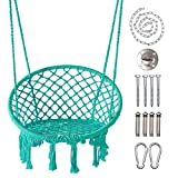 LAZZO Round Hammock Chair with Hanging kit, Hanging Knitted Mesh...