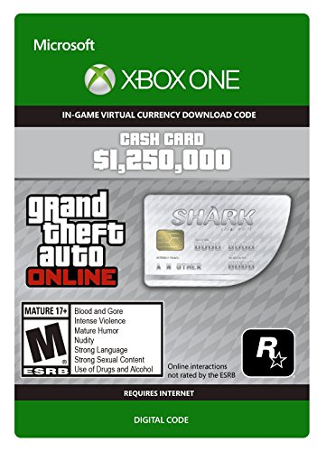 Grand Theft Auto Online | GTA V Great White Shark Cash Card | 1,250,000 GTA-Dollars | Xbox One Download Code
