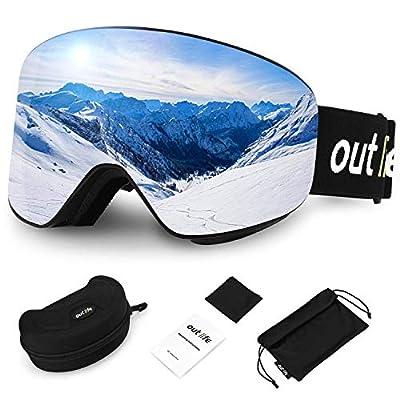 outlife Ski Goggles, Double Lens Ski Snowboard Goggles Anti-Fog UV Protection Anti-Slip Strap with Storage Box for Men Women Youth