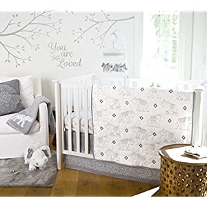 Levtex Baby – Elephant Parade Crib Bed Set – Baby Nursery Set – Grey and White – Embroidered Elephants – 5 Piece Set Includes Quilt, Fitted Sheet, Diaper Stacker, Wall Decal & Bed Skirt/Dust Ruffle