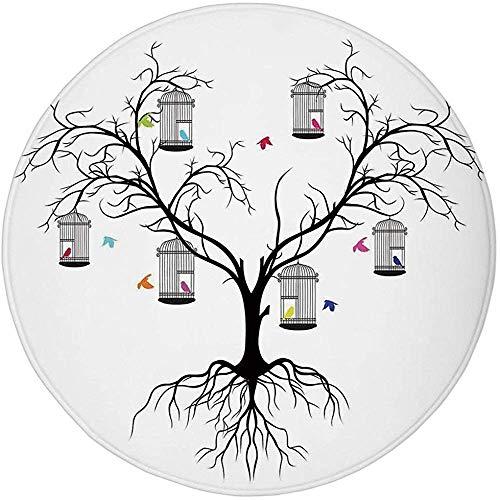 W-WEE Alfombra Redonda, Alfombra, decoración de pájaros voladores, Silhoutte de un árbol de Invierno Aterrador y pájaros de Amor Coloridos sentados en una Jaula Artprint, Blanco y Negro
