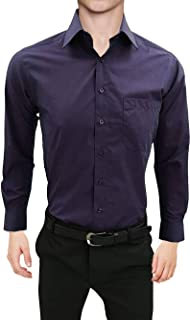 MENS FORMAL SHIRTS,PLAIN COLOR LONG SLEEVES SLIM FIT SHIRTS WITH POCKET